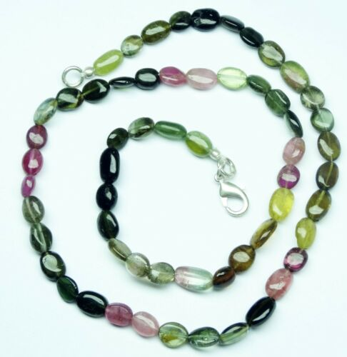 """NATURAL MULTICOLOR TOURMALINE 7*5MM SMOOTH NUGGETS FINISHED NECKLACE 76CT 17/"""""""