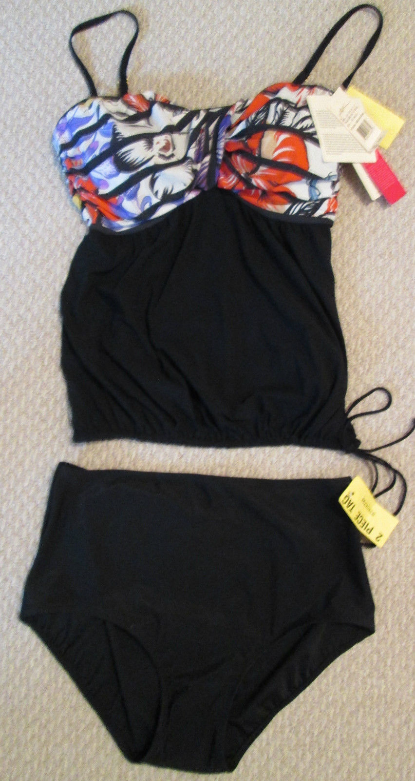 NEW LADIES SIZE 6 GOTTEX TANKINI 2 PC SWIMSUIT MSRP 158.00 MULTI-COLOR NWT