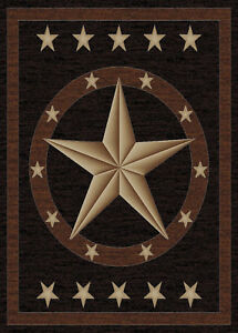 Texas Western Star Rustic Cowboy Black Brown Area Rug