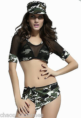 SEXY ARMY DEFENCE FORCE MILITARY UNIFORM CAMOUFLAGE HALLOWEEN COSTUME 8 10