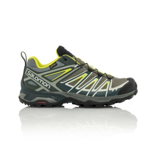 Salomon X Ultra 3 GTX Men's Hiking Shoe Castor GrayDarkest SpruceAcid Lime
