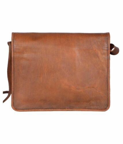 """Vintage Leather messenger bag 18/"""" laptop bag computer case shoulder bag for men"""
