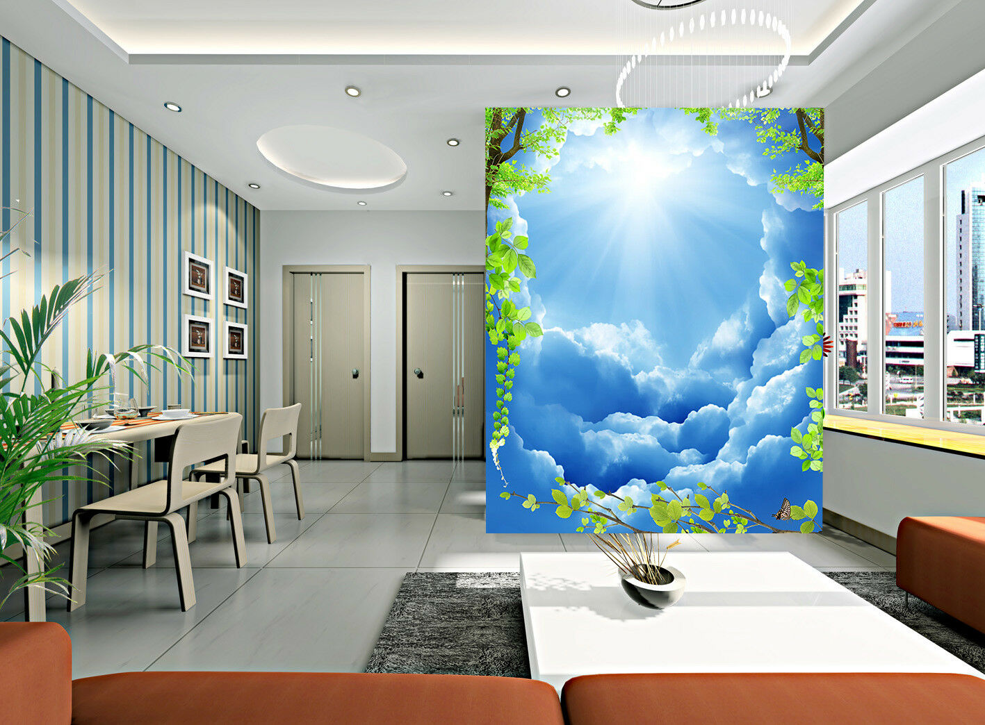 3D Sun Clouds Leaves 8 Wall Paper Murals Wall Print Wall Wallpaper Mural AU Kyra
