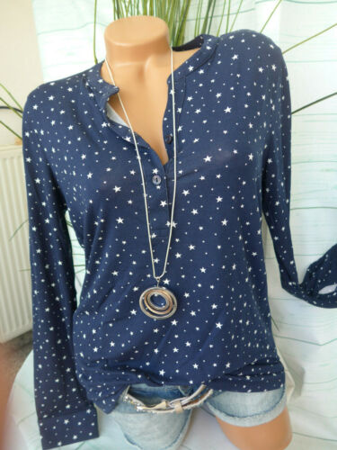 NEUF 769 Cheer Shirt Femme Taille 34 à 48 manches longues bleu avec étoiles