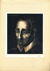 ???? Portrait De Ronsard Par Achille OuvrÉ Camaïeu Gravé Deux Tons Vélin D'arches
