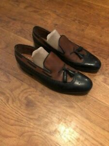 J-M-Weston-Black-and-Brown-Loafers-with-Tassels-Size-9D