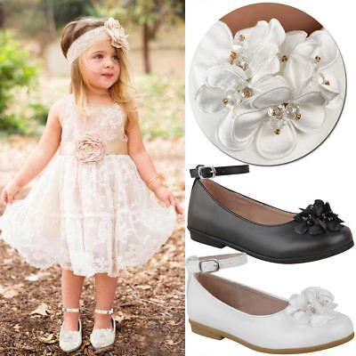 Girls Children Kids Party School Shoes Casual Wedding Strappy Flat Formal Size