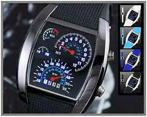 Car-Bike-Dashboard-Tachometer-Style-Quartz-Blue-LED-Sports-Watch-Silicone-Strap