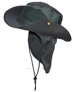 Summer-Wide-Brim-Mesh-Safari-Outback-Hat-W-Neck-Flap-982-Hunter-XL