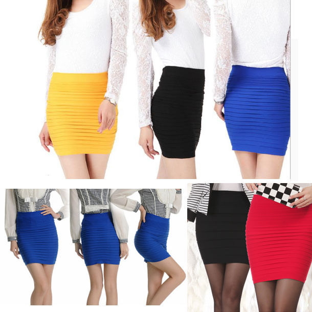 Bandage High/Low Waist Stretch Lady Mini Skirt Slim Bodycon Panel Candy Colore