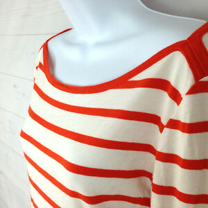 J-CREW-women-size-S-white-orange-striped-scoop-neck-long-sleeve-knit-top-FLAW