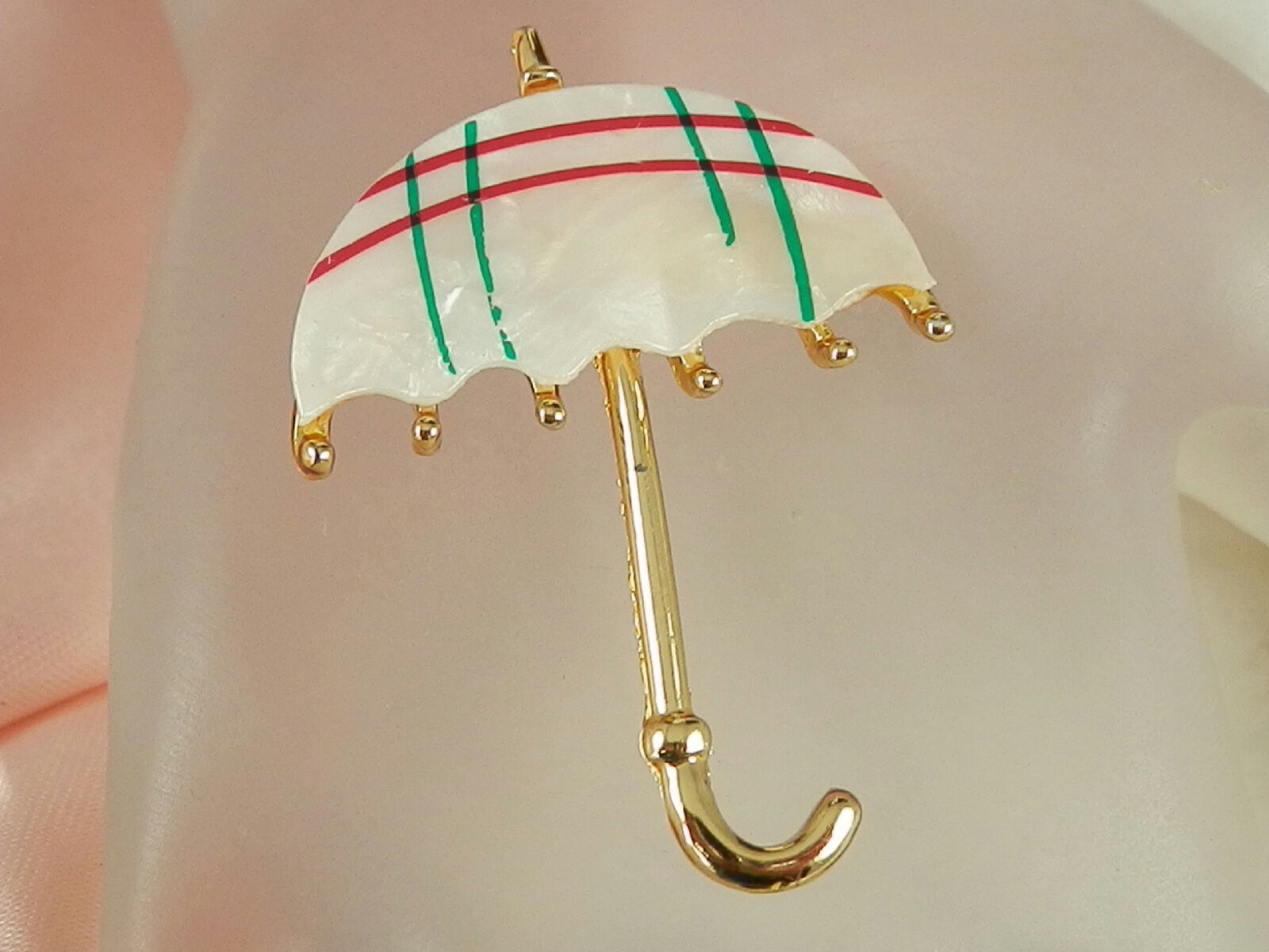 XX Cute Vintage 1970s Mother Of Pearl Umbrella Br… - image 1