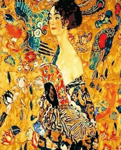 USA DIY Paint by Number Kit Acrylic Painting Home Decor Lady with Fan Klimt