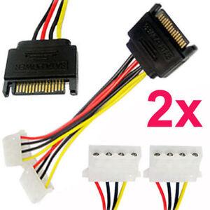 2Pc 15 cm 15Pin SATA Macho a 4 Pines Molex Hembra Doble Cable Serial Ata Plomo PC CPU