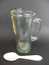 """Glass Large Embossed Bacardi Cocktail Jug, with Wooden Spoon, 9"""" tall approx."""