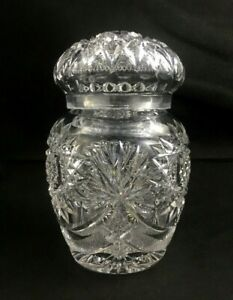 ABP-American-Brilliant-Cut-Glass-Fan-Star-6-034-Jar-w-Lid