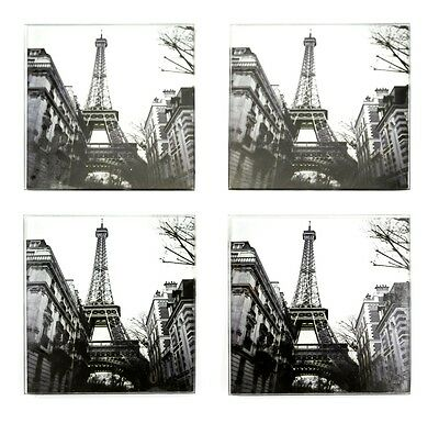 Coasters Glass Set of 4 Paris Eiffel Tower Black White Retro Picture Photo