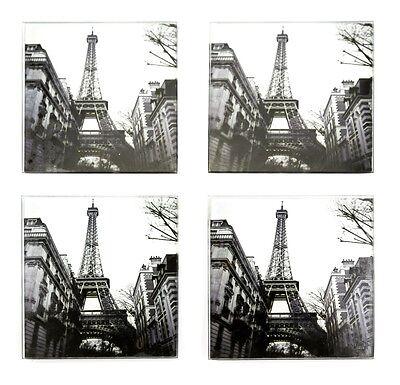 Coasters Glass Set of 4 Paris Eiffel Tower Black White Retro Picture Photo
