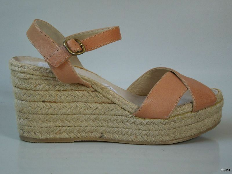 New  248 ETTORE MASOTTI Nordstrom NUDE leather espadrille WEDGE shoes  11