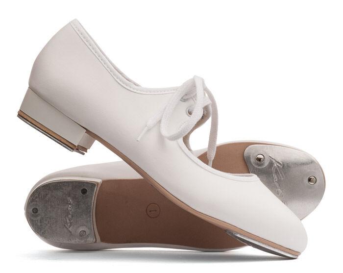 Girls Ladies White PU Low Heel Tap Dance Shoes With Tap Plates By Katz Dancewear