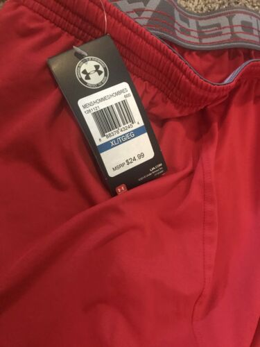 "Under Armour  Men/'s Red UA Team Raid 10/"" Inseam Shorts Size X-Large"
