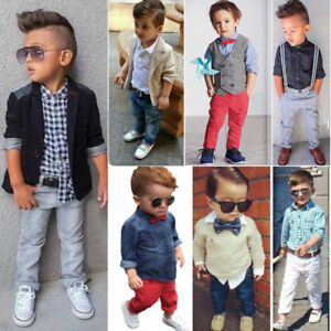 cb3650025ecbb Boys Suits Age 1-8 Years Old 2Pcs Shirt + Plants Gentleman Outfits ...