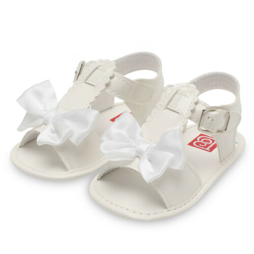 New Infant Baby Girl Bowknot Crib Shoes Soft Sole Anti-slip Single Shoes Sandals