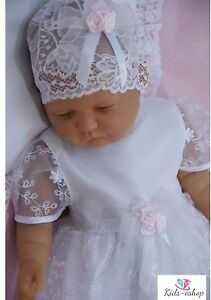 Baby-GIRL-HAT-BONET-in-Pizzo-Bianco-Battesimo-Occasione-Speciale-0-18-M
