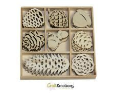 Craft Emotions BOX of 40 WOODEN SHAPES ORNAMENTS PINE CONES 0142
