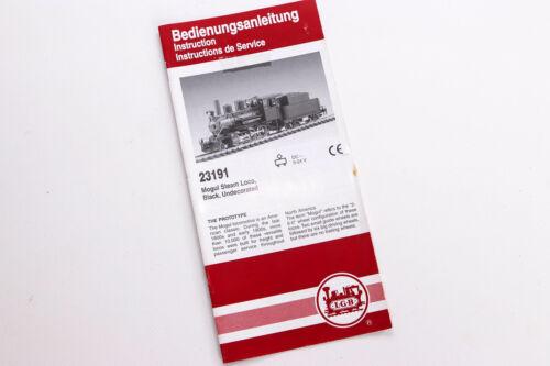 LGB 23191 Mogul DampflokBedienungsanleitung Spur G LGB Katalog Prospekt