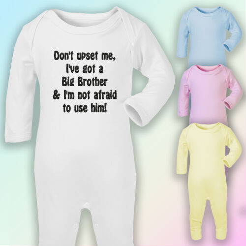 Don/'t upset me I have a Big Brother Embroidered Baby Romper Babygrow Gift