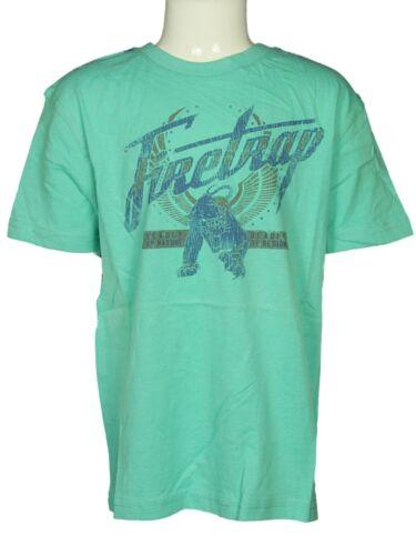 BOYS FIRETRAP CREW NECK T-SHIRT 100/% COTTON BLUE LIGHT GREEN TB0134 3 TO 15 YRS