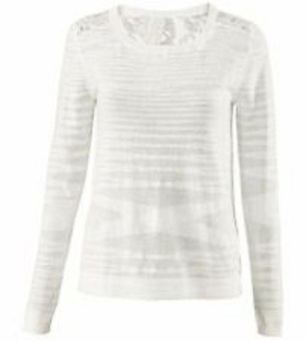 CAbi Sophia Sweater  5005 Ivoire Dentelle Dos Léger Größe Moyenne Neuf Avec Étiquettes 129