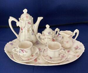 Child's Porcelain China Tea Set Service for 2 on Tray Pastel Floral 8 pcs + lids