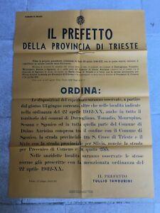 MANIFESTO  PREFETTO TAMBURINI PROVINCIA DI TRIESTE COPRIFUOCO 1942 OLD POSTER