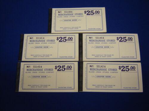 lot of 5 $25.00 Island Creek Company Store coal mine scrip coupons uncirculated