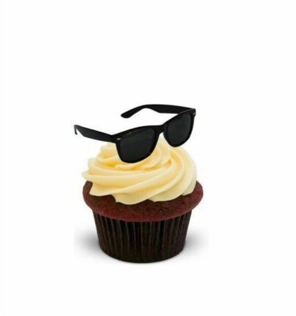 NOVELTY BLACK SUNGLASSES 12 STANDUP Edible Cake Toppers birthday summer birthday