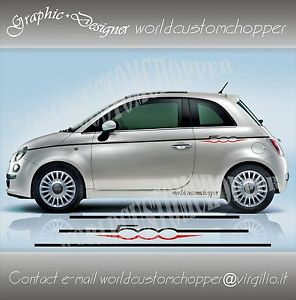 2 FASCE ADESIVE FIAT 500 SET COMPONIBILE AUTO TUNING STRISCE STICKERS DECAL zLBSyker-07133641-548694339