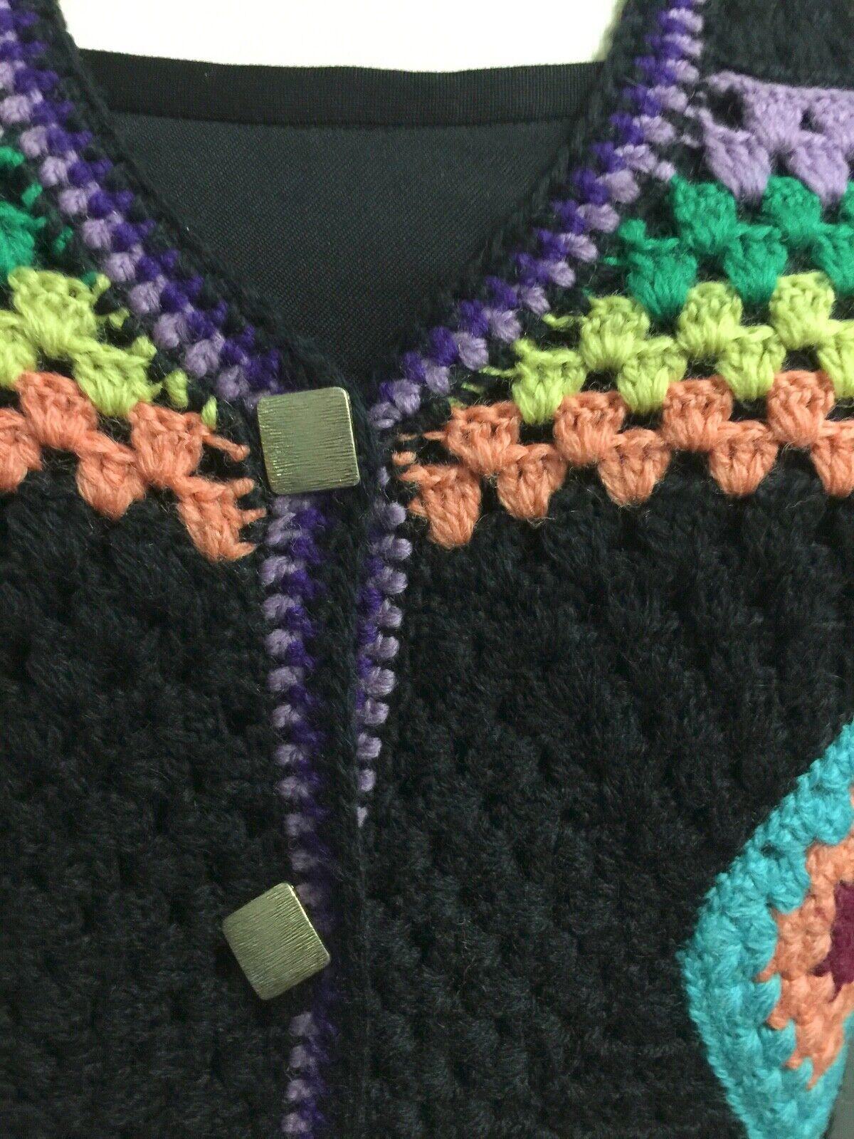 Vintage 70s Wool Handknit Crochet Black Multicolo… - image 4