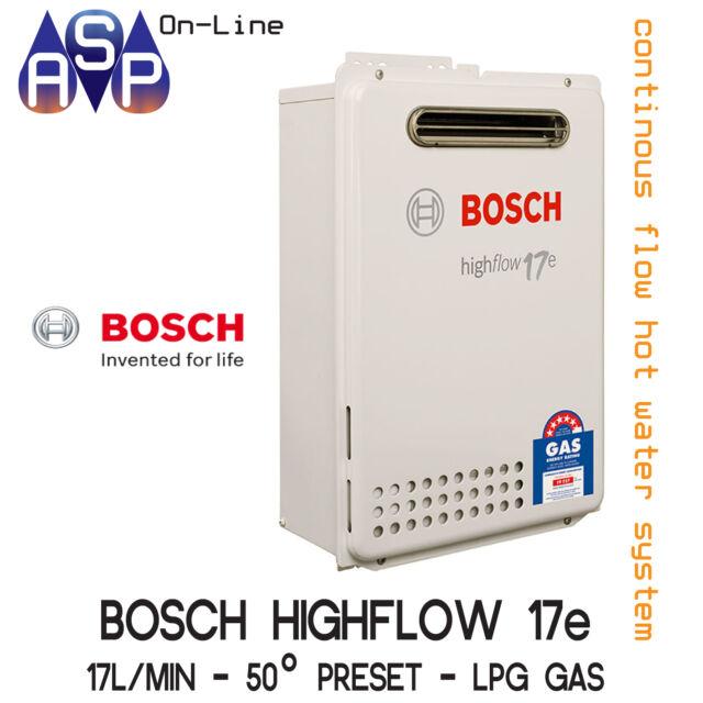 BOSCH 17e HIGHFLOW (17L/min)  - CONTINUOUS FLOW HWS - 50° PRESET - LPG GAS