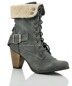 NEW WOMENS LADIES HEEL FUR CUFF ARMY COMBAT AVIATOR MILITARY ANKLE BOOTS SIZE