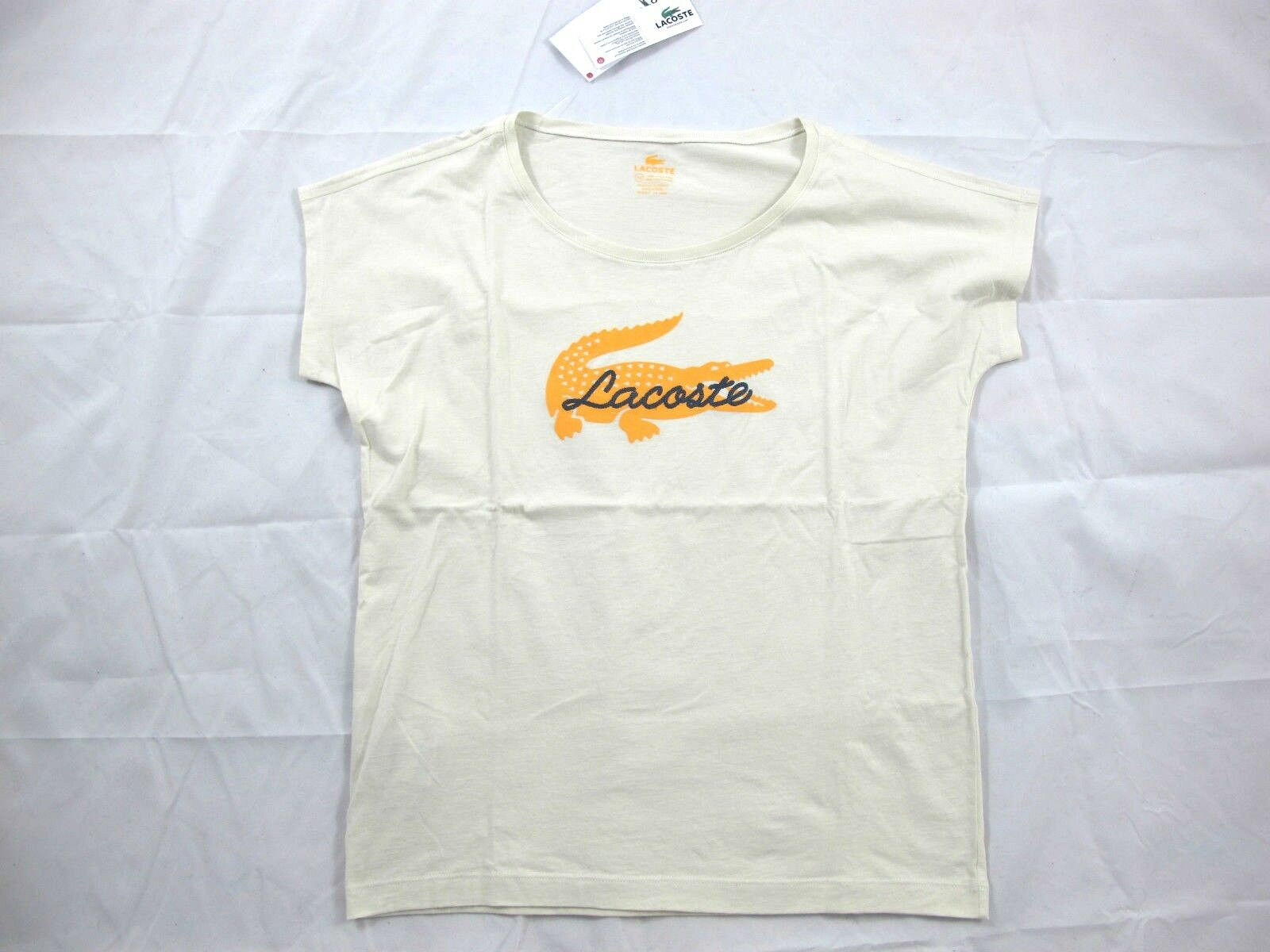 Lacoste Solid Beige Cotton Graphic Short Sleeve T-Shirt S M L TF2101  BNWT