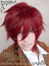 Anime Lavi Bookman Jr.  D.Gray-man Dark red Short Cosplay Wig + free wig cap
