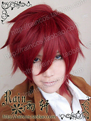 NEW Lavi Bookman Jr.  D.Gray-man Dark red Short Cosplay Wig + free wig cap