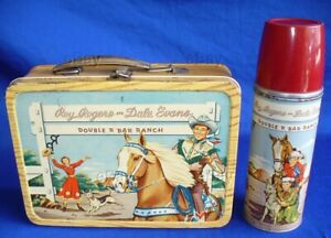 VINTAGE ROY ROGERS DALE EVANS DOUBLE R BAR RANCH LUNCH BOX W/THERMOS COWBOY LQQK