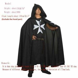 Medieval Tunic Cloak Belt Cape LARP Costume Warrior Knight Of ST.JOHN Black