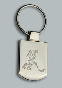 Personalised HOCKEY Design keyring BOXED engraved Free Metal Key ring