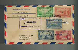 1939 Managua Nicaragua Cover to Newark NJ USA Will Rogers Stamps