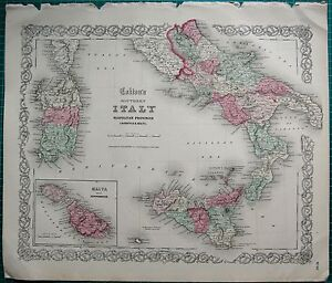 1855 LARGE ANTIQUE MAPCOLTON ITALY SOUTH NEOPOLITAN PROVINCES