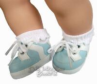For Bitty Baby Dolls; Light Blue Gym Shoes Doll Clothes 2 5/8 By 1 1/2 Inches
